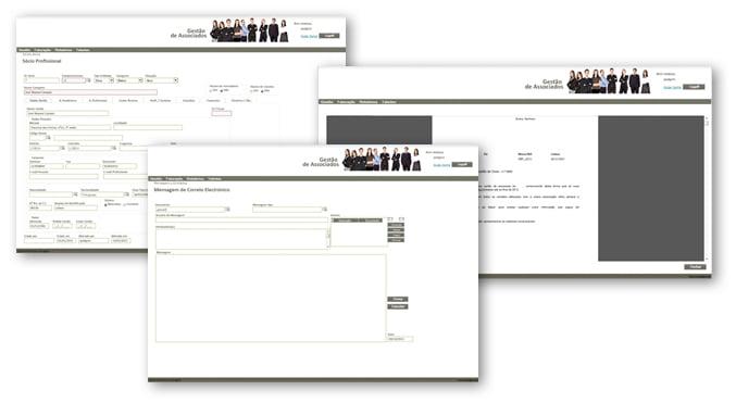 funcionalidades do sistema de gestão de associados